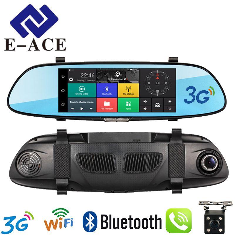 E-ACE 7.0 Inch Android GPS Car Dvr WIFI Bluetooth HD Video Recorder Auto Rear View Mirror Radar Detector Dashcam Dual Car Camera