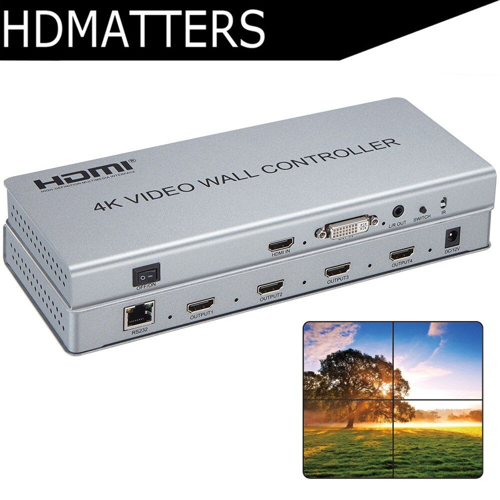Video Wall controller 4KX2K HDMI 1.4 video Wall Processor DVI/HDMI in to 4X HDMI out with audio&RS232 control