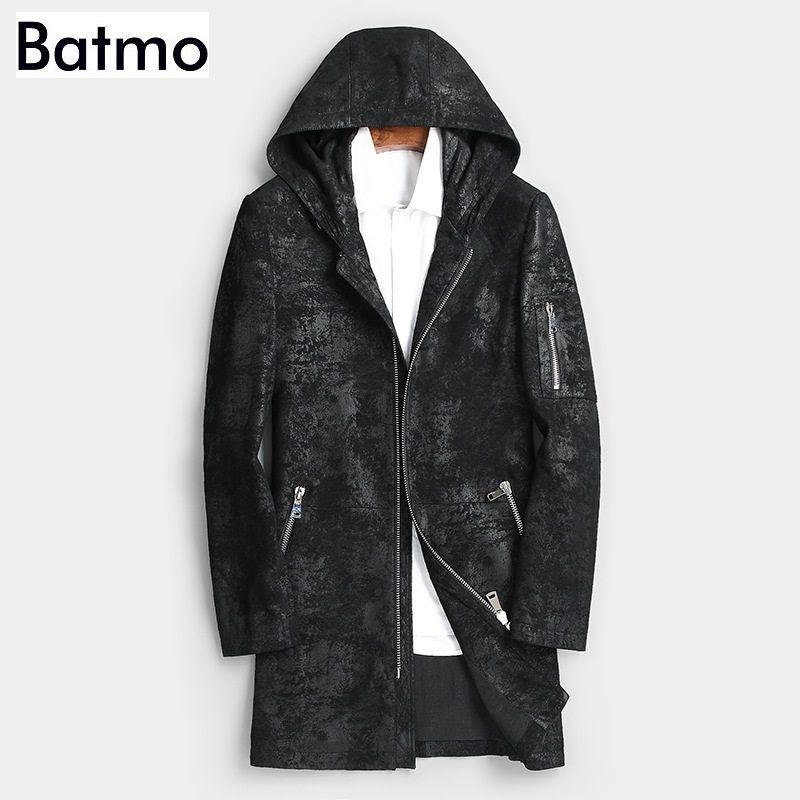 Batmo 2019 neue ankunft herbst hohe qualität schaffell kapuze langen graben mantel männer, männer echt leder jacken männer