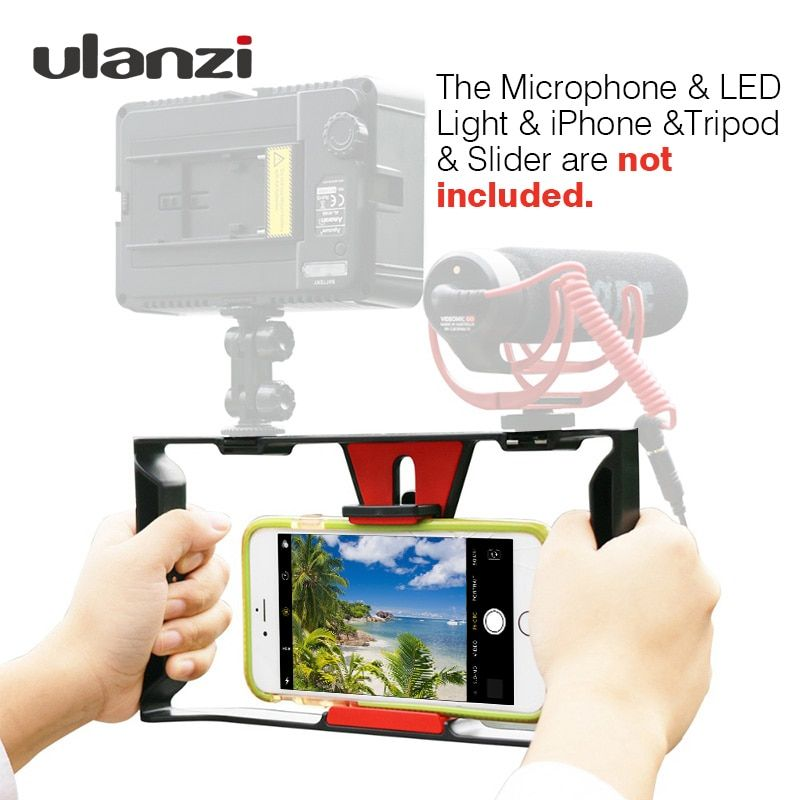 Ulanzi Smartphone Video Rig Vlogging <font><b>Record</b></font> Handle Rig Case Filmmaking Stabilizer Grip Phone Mount for iPhone X 7 Samsung BY-MM1