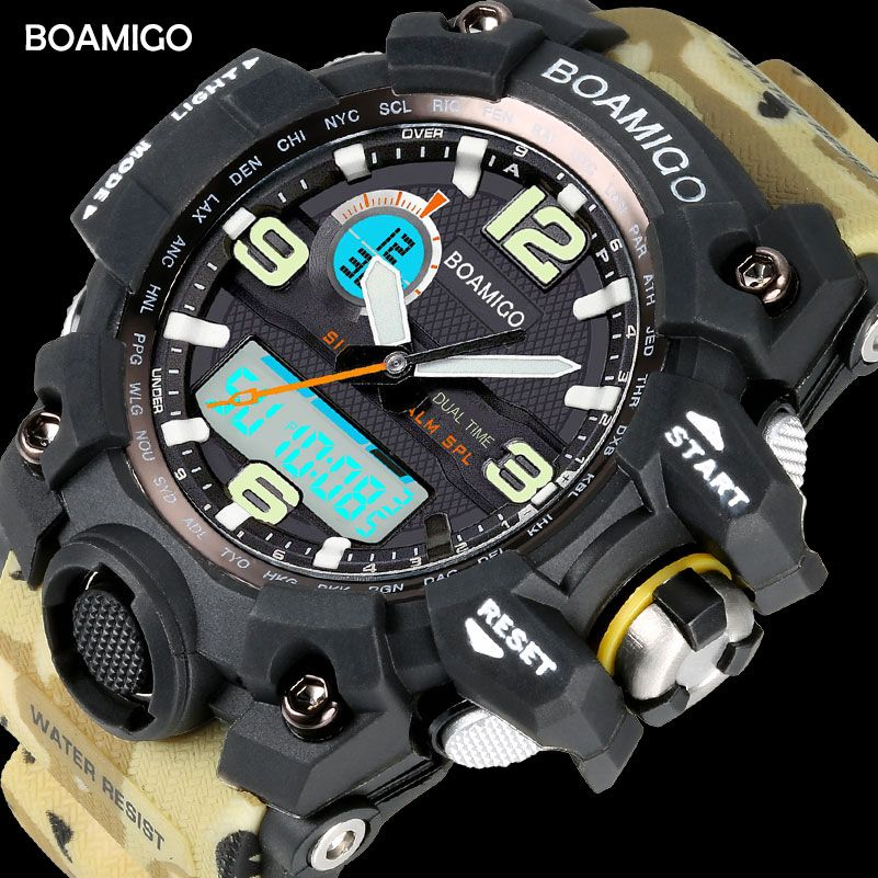 Männer Sport Uhren BOAMIGO Marke LED Digital Uhren Military Quarzuhr Rubber Strap 50 mt Wasserdicht Schwimmen Armbanduhr F5100