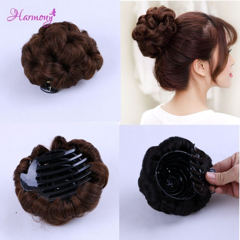 Curly Hair Bride Makeup Bun Flowers Chignon Claw on Ponytail Hairpiece Heat Resistant Extension Styling Tools 5 colors