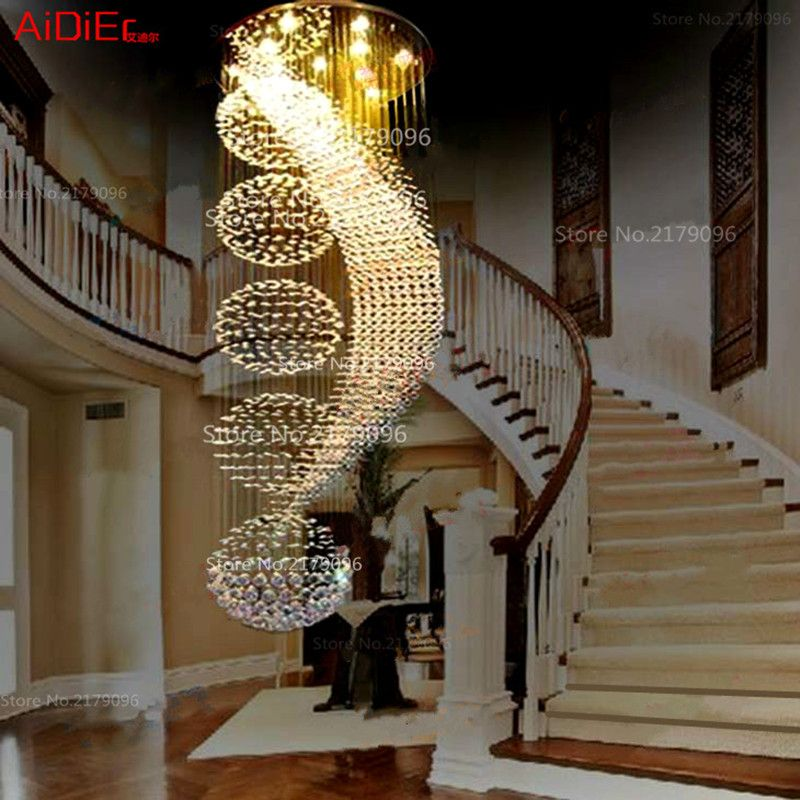 Langen doppeltreppe moderne kronleuchter lampe LED kristall llights stilvolle hotel projekt Villa halle beleuchtung suspension draht