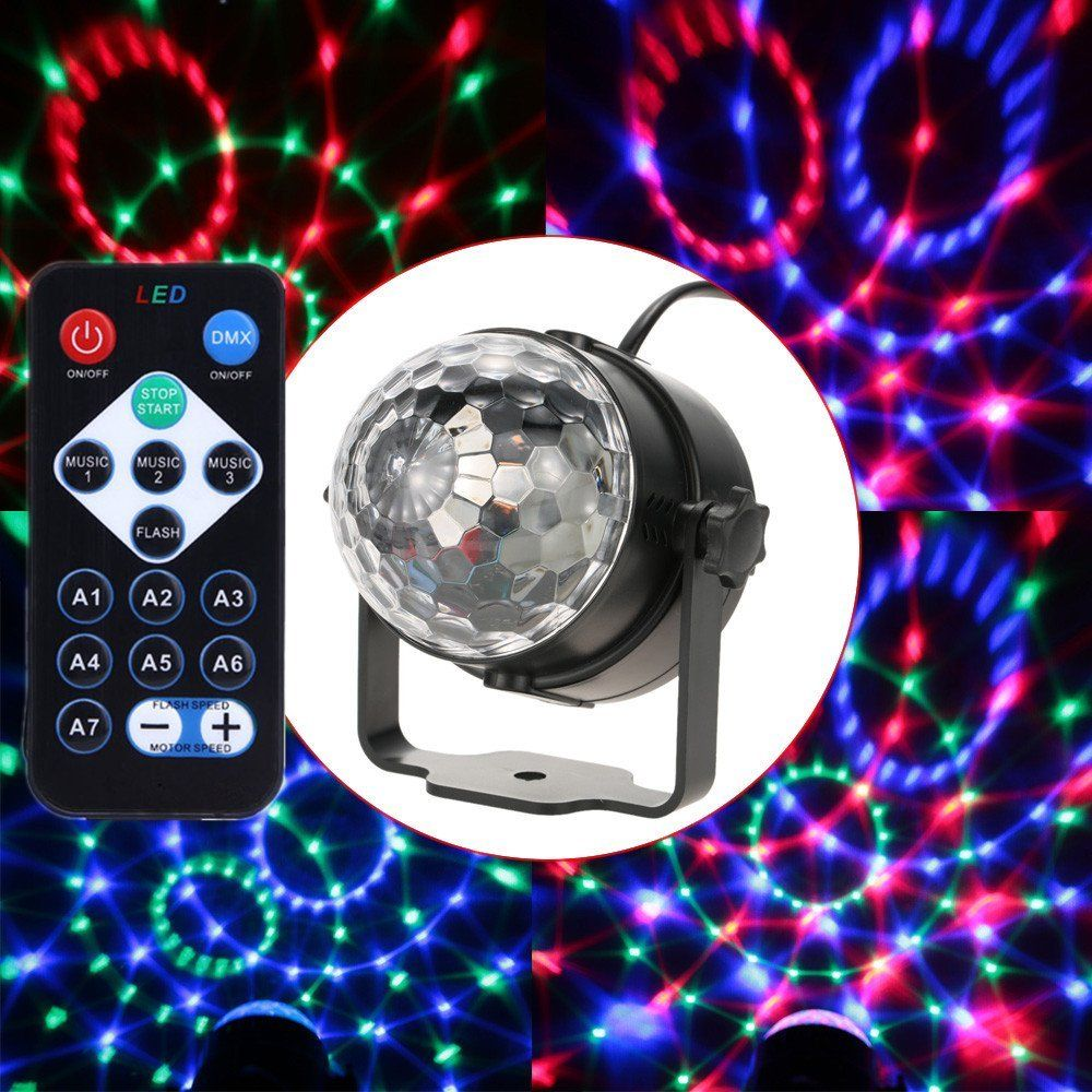 Aimbinet 7 Color  LED Crystal Magic Ball 3W Mini RGB  Stage Lighting Effect Party Disco Club DJ Light Show with remote control
