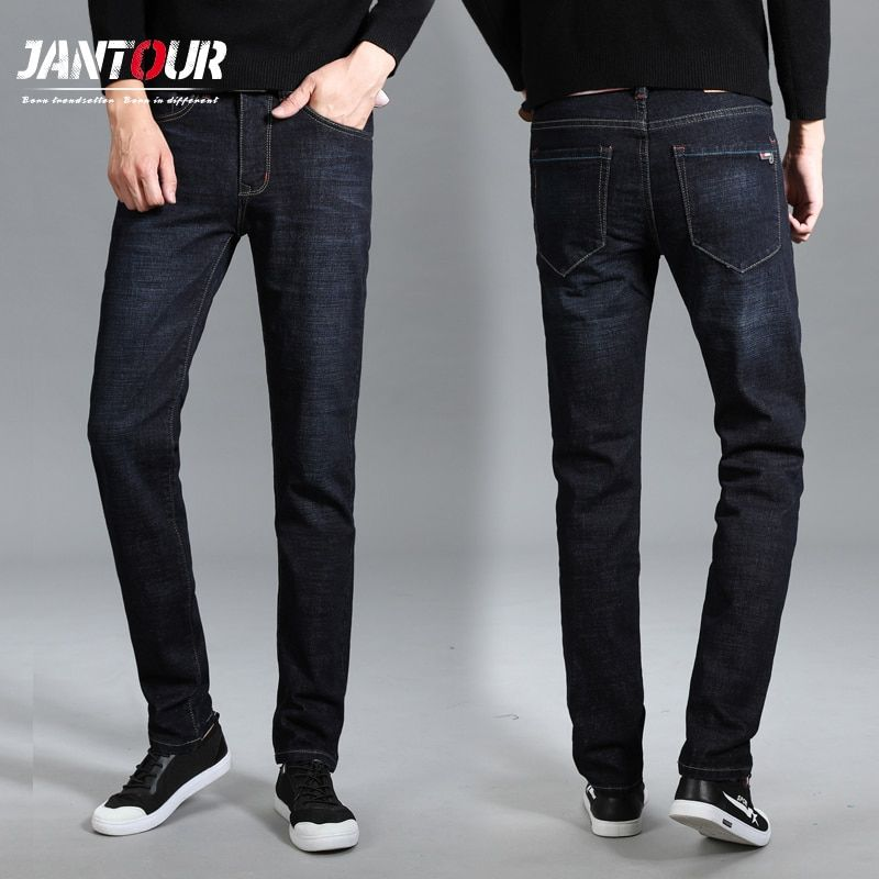 jantour New thick Jeans Men High Quality Famous Brand Autumn Winter Jeans flocking soft Plus fashion pants trousers Size 40 42