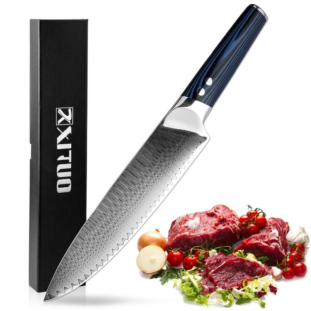 XITUO 8 inch Professional Chef Knives 67 <font><b>Layers</b></font> Japanese VG-10 Damascus Steel Kitchen Knife Forged Santoku Cleaver Kitchen Tool
