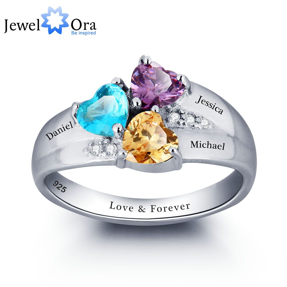Mothers Rings Personalized Engrave Name Heart stone Jewelry 925 Sterling Silver Wedding Rings <font><b>Birthday</b></font> Gift (JewelOra RI101793)