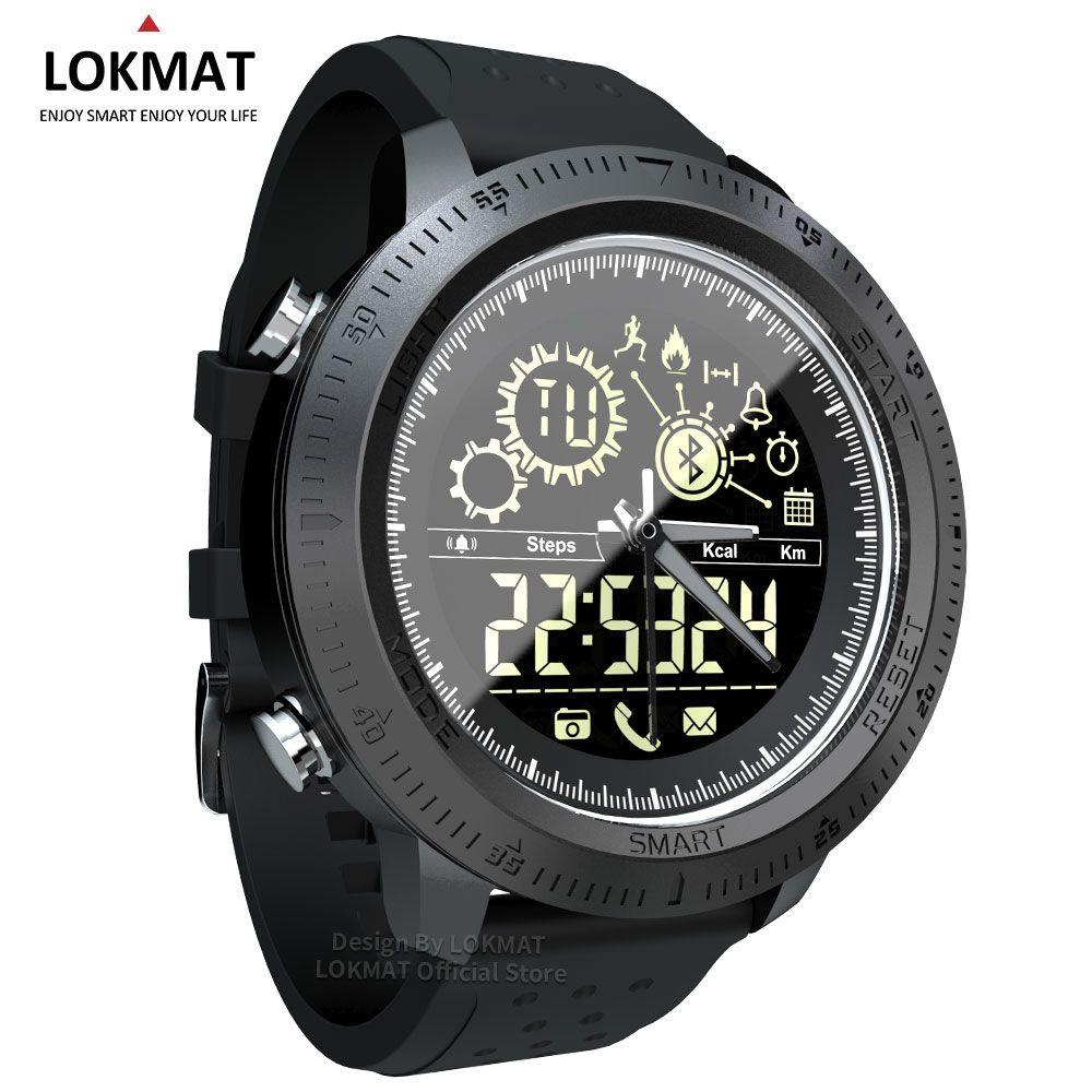 LOKMAT Bluetooth Smart Watch Men Outdoor Sport Pedometer Digital Clock Waterproof IP68 Smartwatch For IOS Android Phone