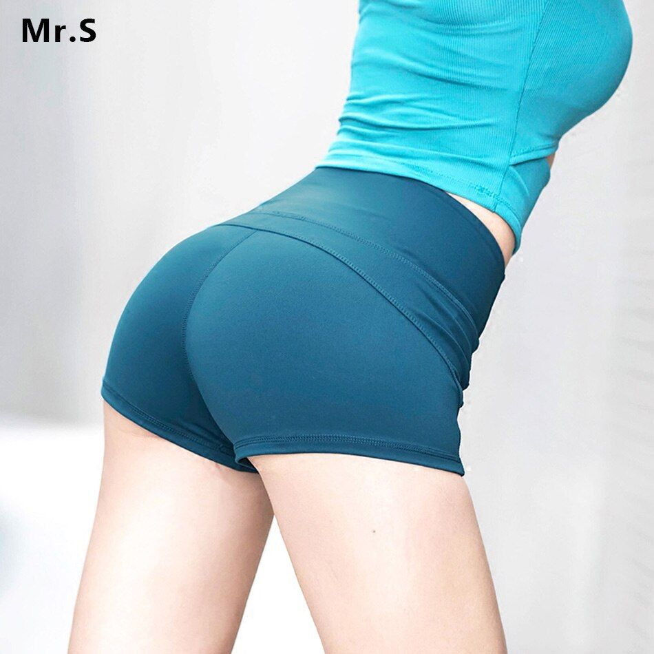 Sexy Women Push Up Compression Yoga Shorts High Waist Workout Shorts Widen Waist Fitness Solid Running Tights Athletic GYM Short