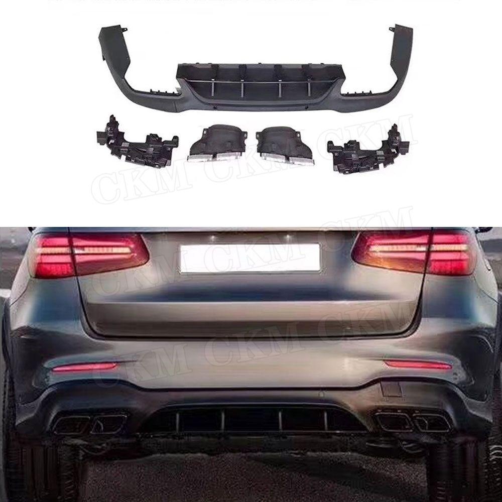 PP Heckschürze Lip Diffusor mit Auspuff Tipps für Mercedes Benz GLC X253 Sport GLC 300 GLC250 GLC43 2017- 2019