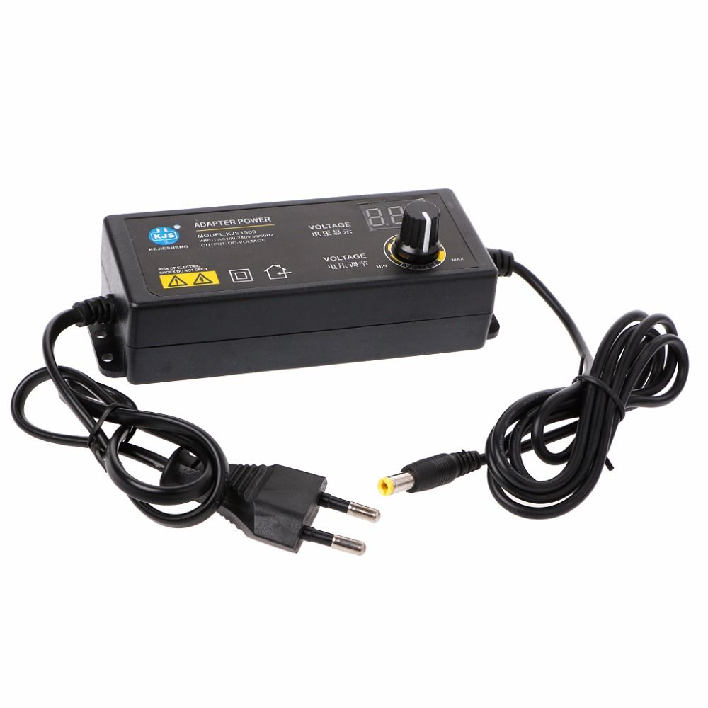 60W 3-24V Adjustable Adapter With Display Screen Of Voltage DC 5.5x2.1/2.5mm Power Supply EU Plug