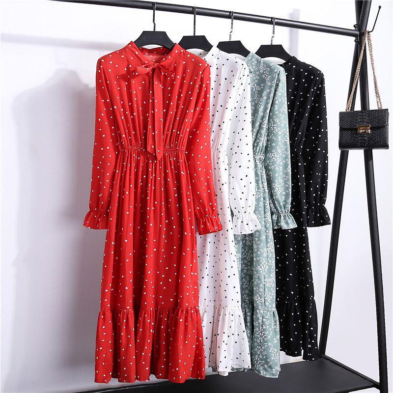 2019 automne femmes robe pour dames à manches longues à pois Vintage en mousseline de soie chemise robe décontracté rouge Floral hiver robe mi-longue