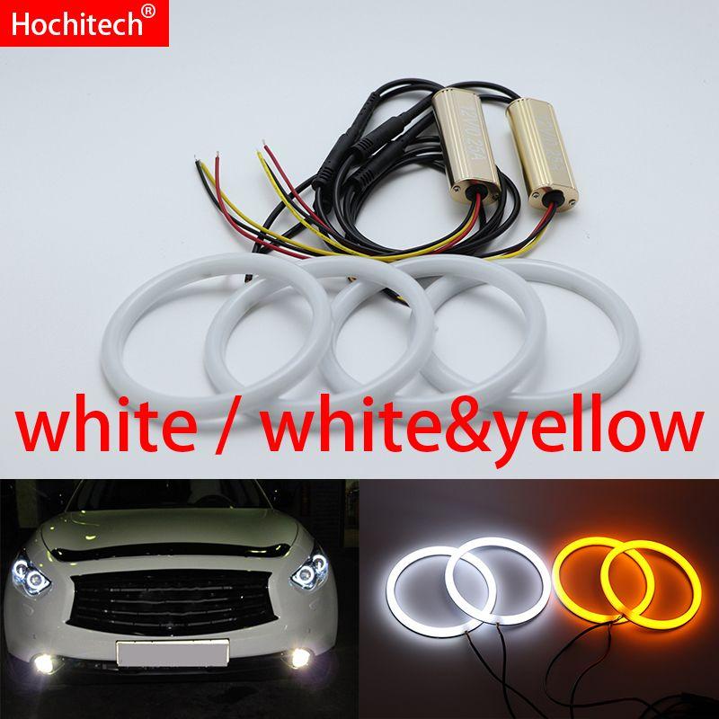 Für Infiniti FX QX70 FX35 FX37 FX50 2009-2013 Weiß & gelb Baumwolle LED Angel eyes kit halo ring blinker licht