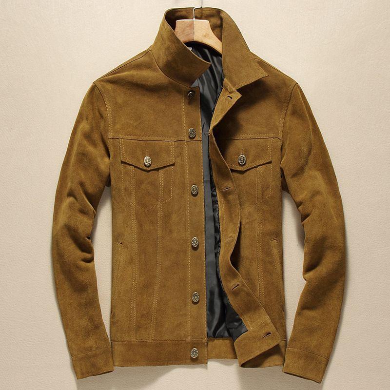 Lars glocke Echte Lederjacke Männer Stehen Kragen Beiläufige Kurze Echtem Rindsleder Jacke Mode Marke Schwarz Gelb Männlichen Mantel