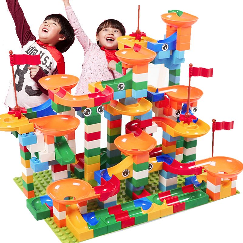296 PCS Big Size Block Marble Race Run Maze Ball Track Building Blocks ABS Funnel Slide Compatible LegoINGlys Duploe Blocks