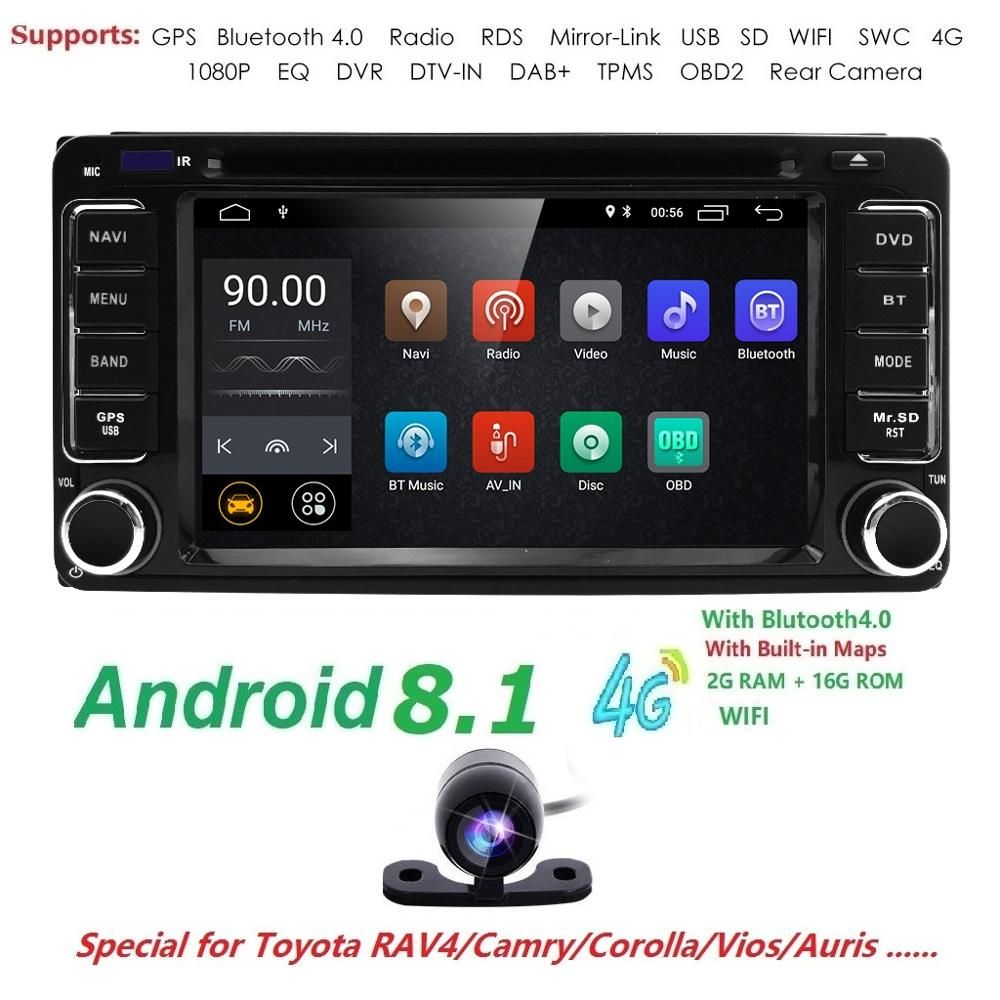 Android 9.0 Quad 4 Core CPU 2 DIN Universal Radio Auto Nav GPS stereo Für Toyota Corolla Camry Prado RAV4 Hilux VIOS TUPFEN TPMS DVD
