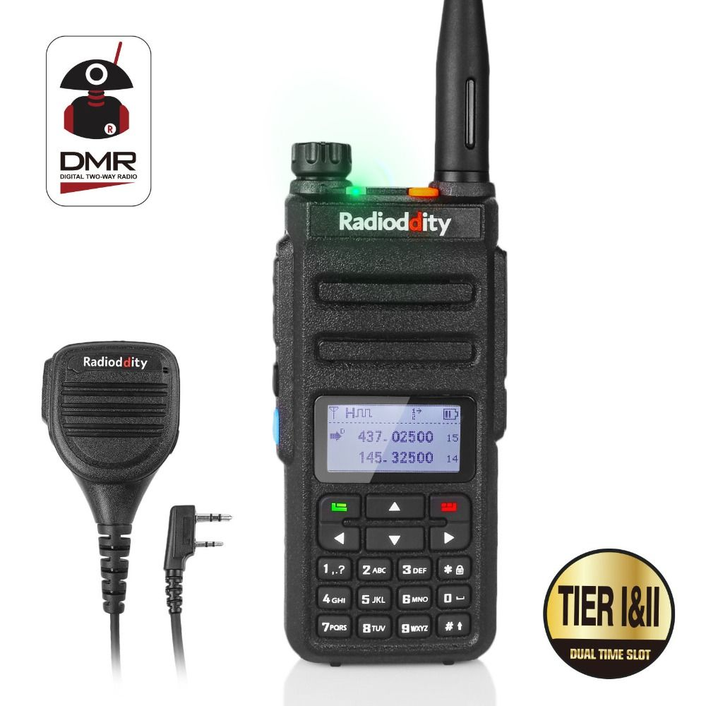 Radioddity GD-77 Dual Band Dual Time Slot Digital Two Way Radio Walkie Talkie Transceiver DMR Motrobo Tier 1 Tier 2 + Cable Mic