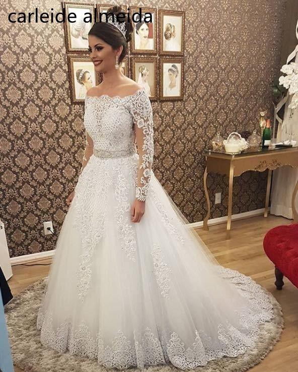 Vestido de noiva Boat Neck Long Sleeves 2 in 1 Wedding Dress Heavy Pearls Luxury Bride Dress Robe de mariee 2018 Abiti da sposa
