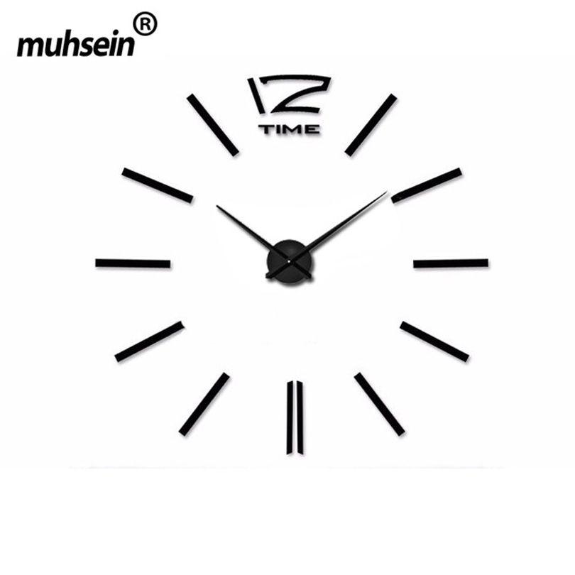 2017 muhsein украшения дома большое зеркало настенные часы современный Дизайн большой Размеры стены clocksdiy стены Стикеры настенные часы уникальн...