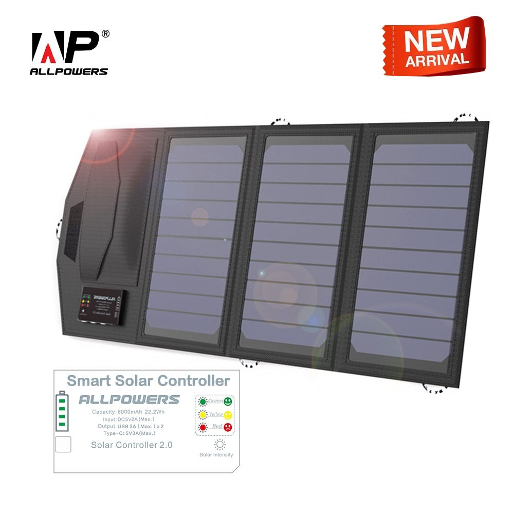 ALLPOWERS Solar Battery Charger Portable 5V 15W Dual USB+ Type-C Portable Solar Panel Charger Outdoors Foldable Solar Panel.