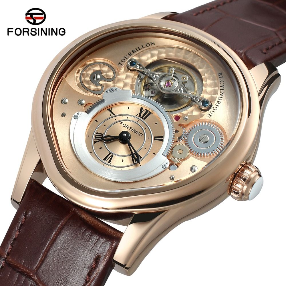Metal Case Genuine Leather Band Forsining Automatic Watch Men Mechanical Watches Luxury Brand Business Relogios masculino