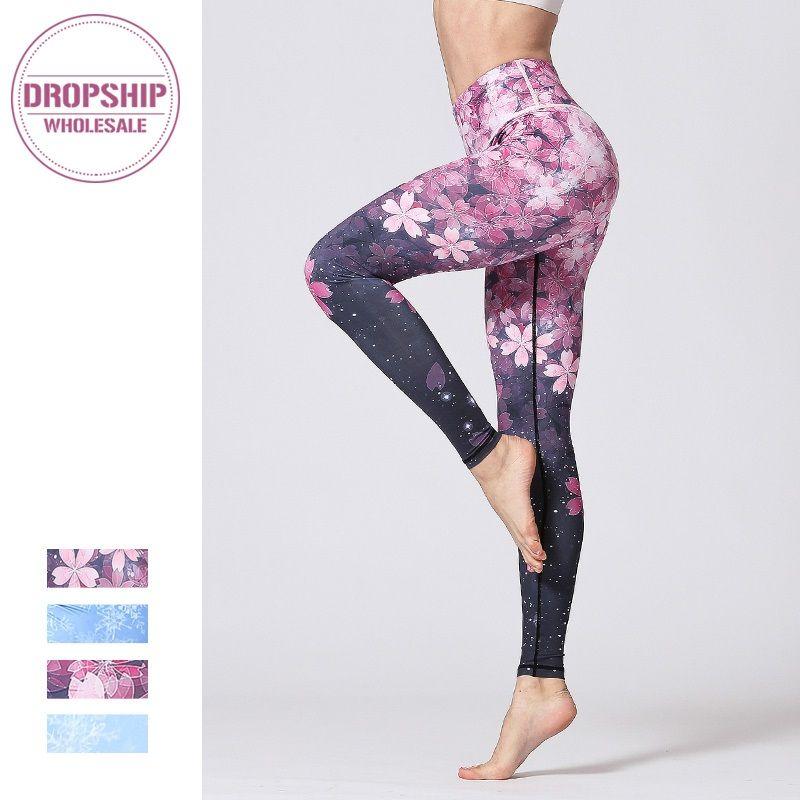 Femmes Fitness Yoga pantalon Slim taille haute Sport Leggings Gym élastique romantique imprimé longs collants pour le contrôle du ventre en cours d'exécution
