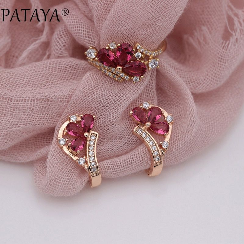PATAYA New Multicolor Water Drop Natural Zircon Dangle Earrings Rings Sets 585 Rose Gold Women Wedding Exquisite Fine Jewelry