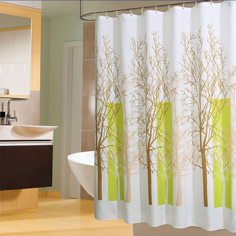 Plants Pattern Shower Curtains Waterproof Bathroom Curtain Polyester Eco-Friendly Bath Curtain 12 Hooks