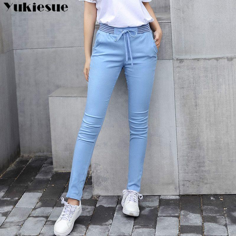 Streetwear Harem pantalon capri femmes lin leggings été 2019 dame décontracté grande taille stretch long slim pantalon femme