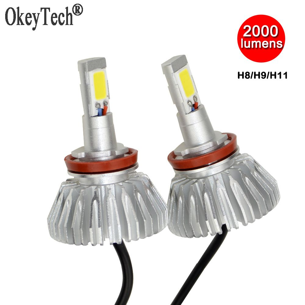 H8 H9 H11 Led Headlight Bulbs All-in-one Headlamps Conversion Kit 40W 2000LM 6000K Car Lamp Replacement, Waterproof Super Bright