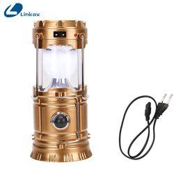 Portable Solaire Lanterne Camping Lumière Rechargeable Au Lithium Intégrée Batterie Main Lampe En Plein Air Camping Lanterna Tente Lumières