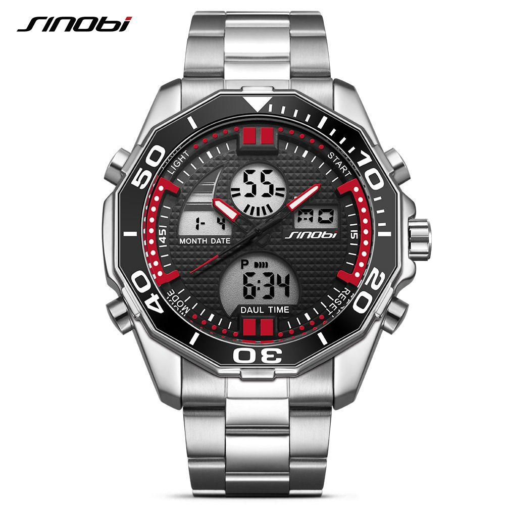 Herren Uhren SINOBI 2017 Top-marke Luxus Fashion Sport Armbanduhr Dual Digital Movt Uhr Military LED Relogio Masculino