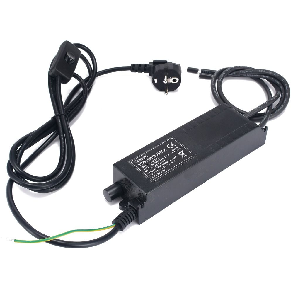 8KV 220V 30mA Neon Transformer Black Neon Power Supply With Dimmer Neon Adjust Ballast For Indoor Installation 185x52x37mm