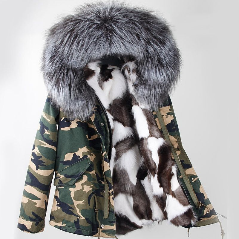 2018 new women winter parka military camouflage large raccoon fur collar hooded coat outwear real fox fur lining jacket brand