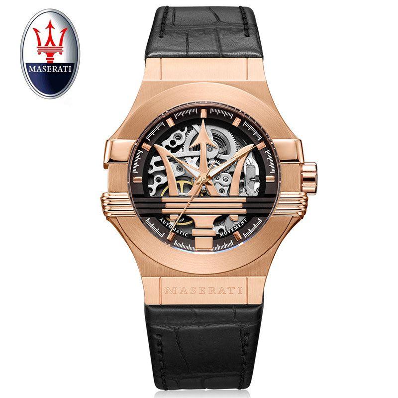 Top brand Maserati luxury automatic mechanical watch gold shell watch leather military watch clock men