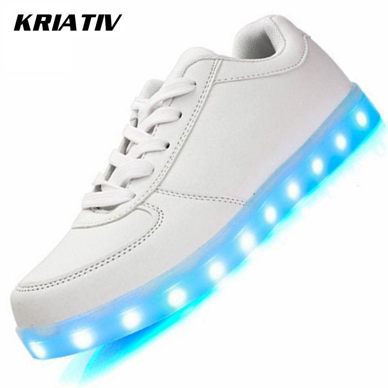 KRIATIV Lumineux Sneakers pour Filles et Garçons Chaussure Lumière Up Infantile USB De Charge led lumineuse Chaussures avec La Lumière baskets rougeoyantes