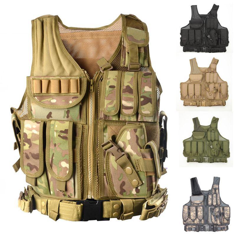 Militärische Taktische Weste mit Pistole Holster MOLLE Airsoft Kampf Tactical Weste Schwarz tan grün multicam