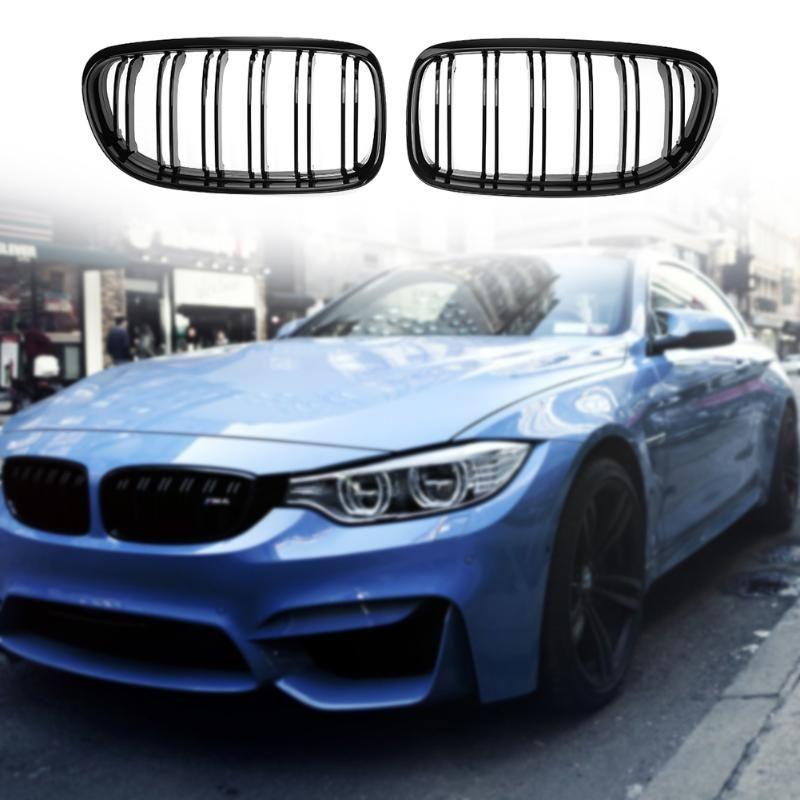 1Pair Gloss Black Double Rib Front Bumper Kidney Grille for BMW E90 E91 08-11 Car Front Bumper Grille Car Styling Auto Accessory