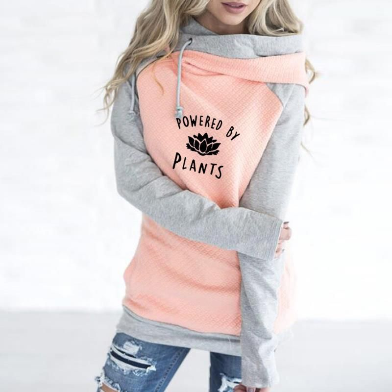 2018 New Fashion Vegan Powered By <font><b>Plants</b></font> Print Sweatshirts Femmes Hoodies Women Kawaii Printing Youth Casual and For Buckle