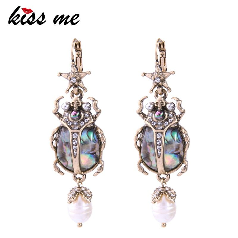 KISS ME Cultured Pearl Star Insect Earrings 2018 Personalized Cute Statement Earrings Fashion Women Jewelry Brinco Drop Earrings