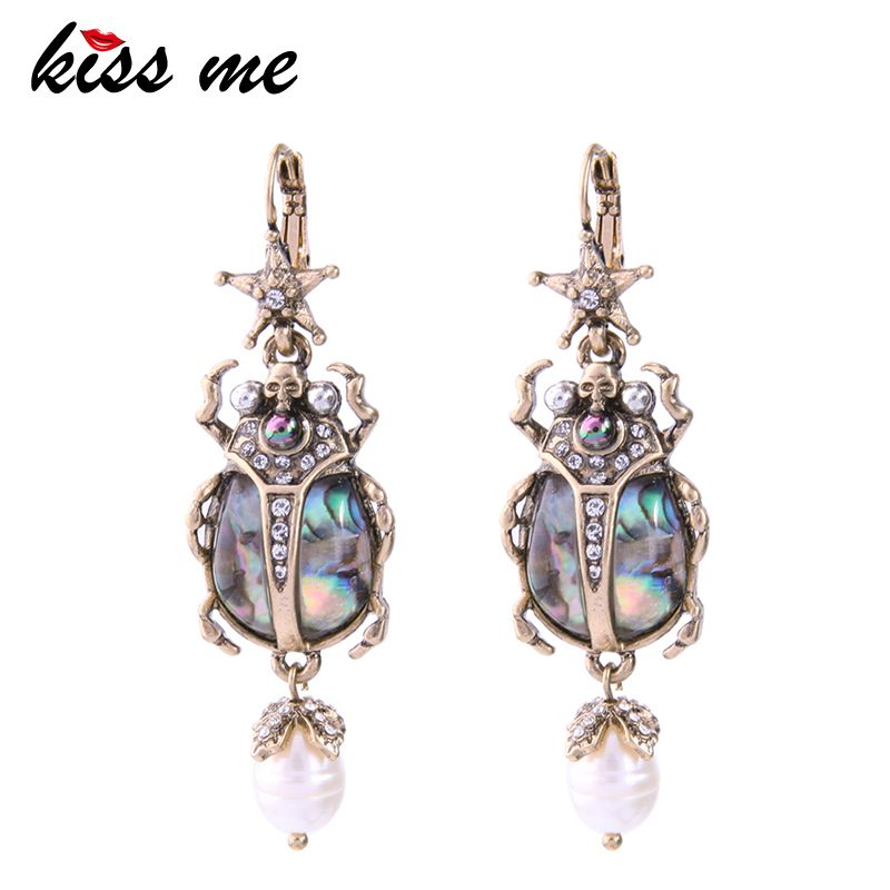 KISS ME Cultured Pearl Star Insect Earrings 2018 Personalized Cute Statement Earrings Fashion Women Jewelry Brinco Drop Earrings