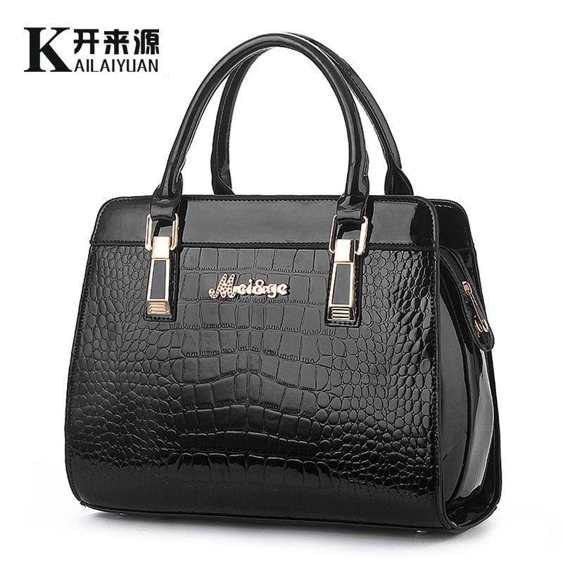 SNBS 100% Genuine leather Women handbags 2018 New Crocodile Fashion Shoulder Bags European style atmosphere woman Messenger bag
