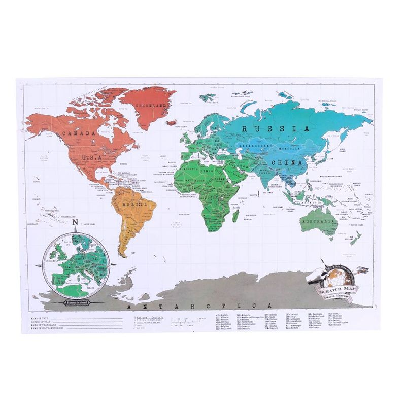 1 Pcs New High Quality Creative Travel Scratch Off Map Personalized World Map Stationary Supply
