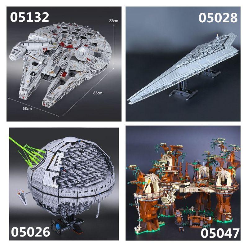 05132 Millennium Falcon 05026 Death Star II 05028 Kaiser kämpfer schiff 05047 Modell Bausteine Spielzeug 75192 10143 10221 10236