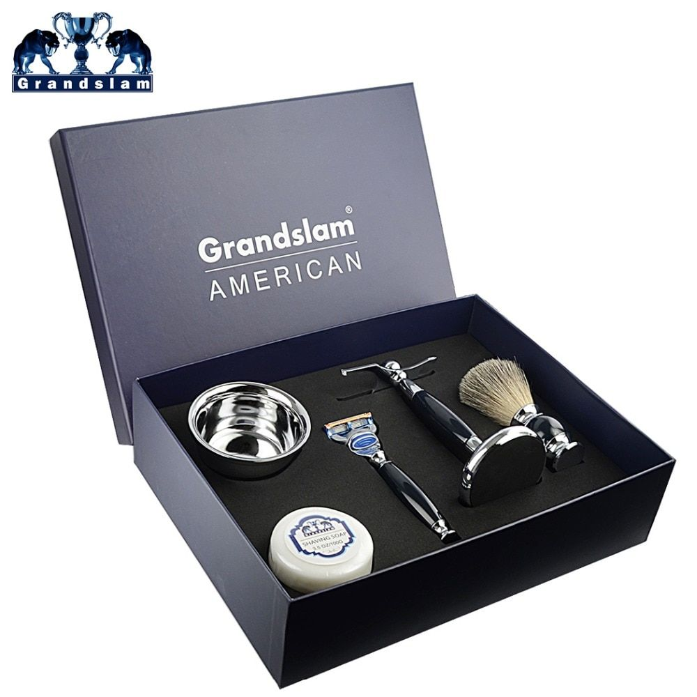 Grandslam Men 5 Blade Cartridge Shaving Razor Badger Hair Brush Shaving Holder Stand Shave Soap Shaving Bowl Mug