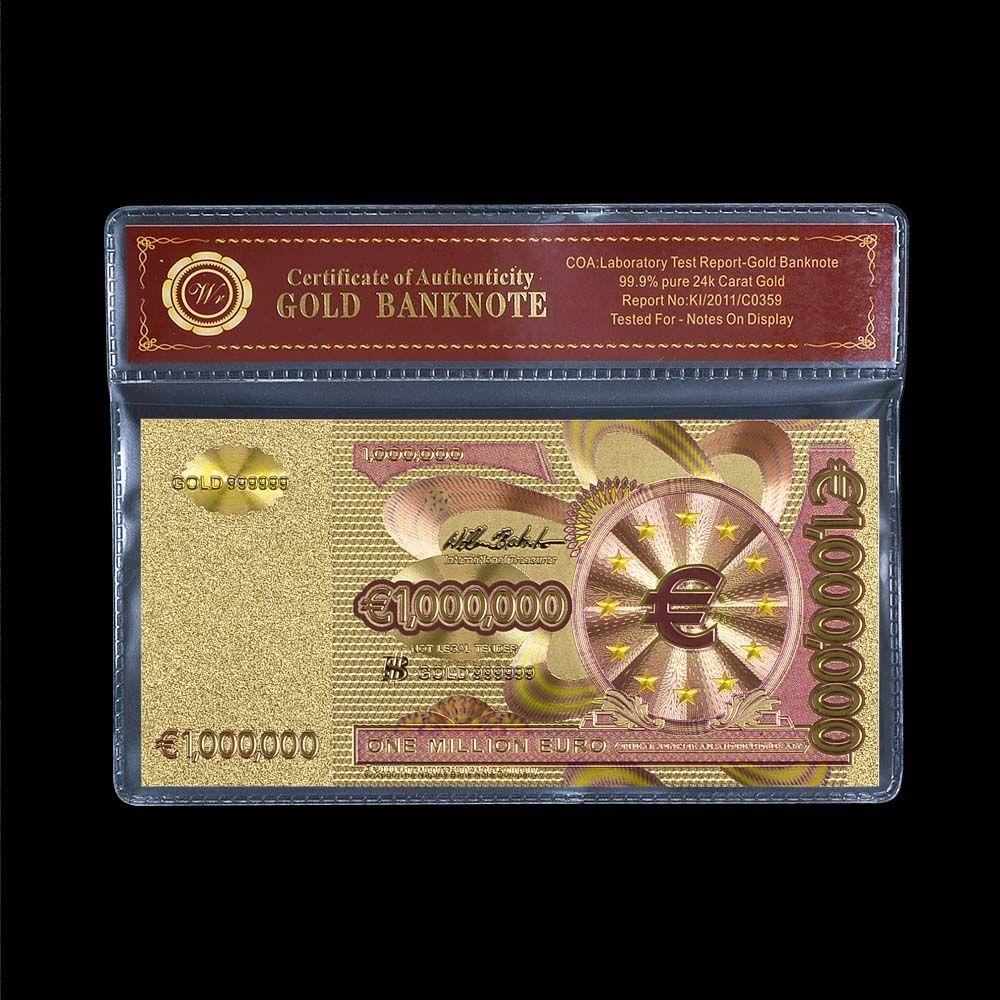 Top Verkauf Bunte Reine Goldfolie Banknote 1 Millionen Euro Papier Hinweis Europäischen Replik Währung Mit COA Rahmen Für Sammlung
