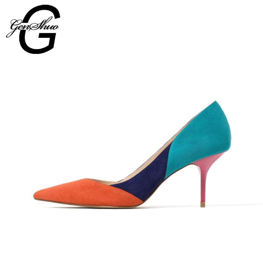 GENSHUO Mixed Color Pointed Toe High Heels Shoes Autumn Wedding Female Simple Women's Pumps Dress Heels Shoes Small Size 34-40