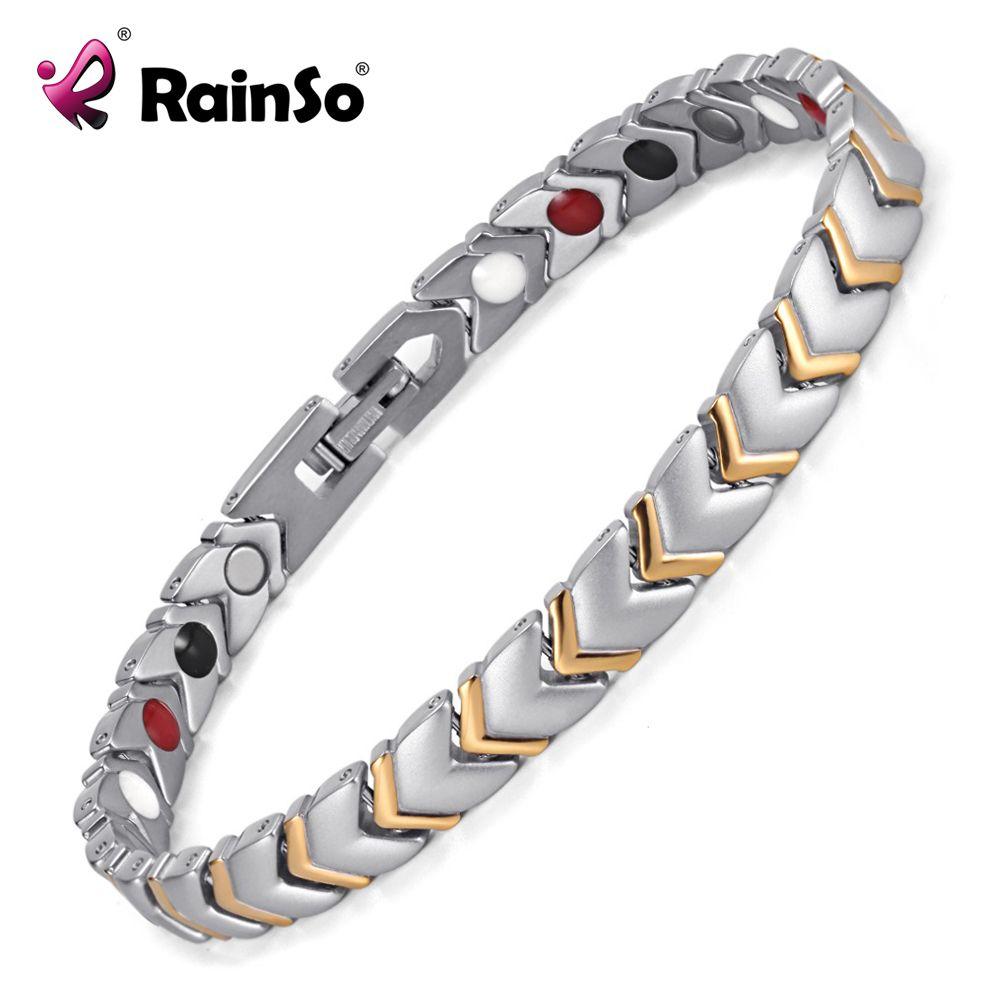 Rainso Titane Santé Puissance Bracelet Bracelet Pour Femmes Bijoux avec 4 Éléments Aimant Couples Accessoires OTB-034