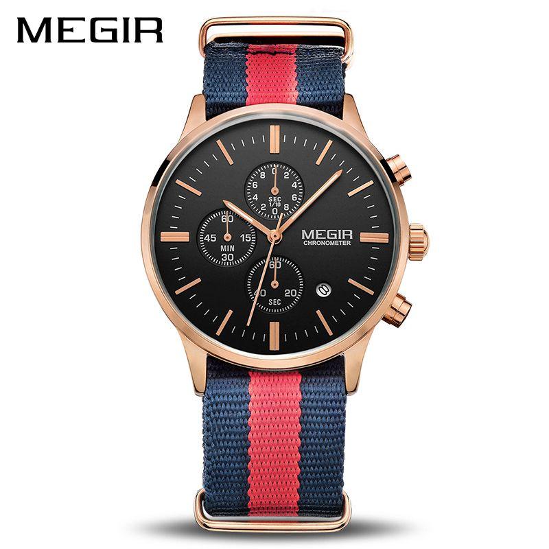 Fashion Casual Canvas Strap Men Quartz Wrist Watch MEGIR Sport Casual Waterproof Chronograph Calendar Watches Boys Gift Clock