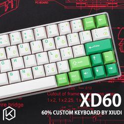 Xd60 Xd64 Custom Keyboard Mekanik Kit Up TP 64 Tombol Mendukung TKG-TOOLS Underglow RGB PCB GH60 60% Diprogram Gh60 Kle